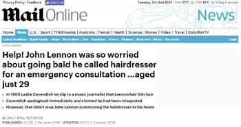 Mail Online News Item Leslie Cavendish 2 October 2018