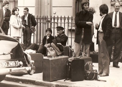 Beatles waiting for the bus for the Magical Mystery Tour