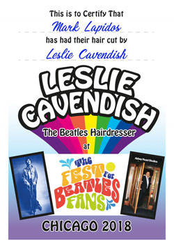 Beatles Haircut Certificate from the Beatles Hairdresser