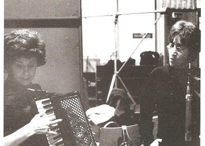 Leslie's client Shirly Evans with John Lennon at Abbey Road Studios