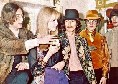 Lennon, Amanda Lear, George, John Crittle & Leslie at the opening of the Apple boutique, Kings Road, Chelsea, London
