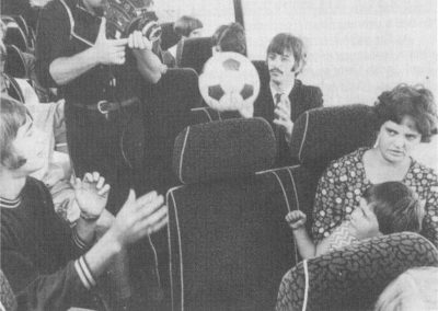 The Magical Mystery Tour football game on the coach